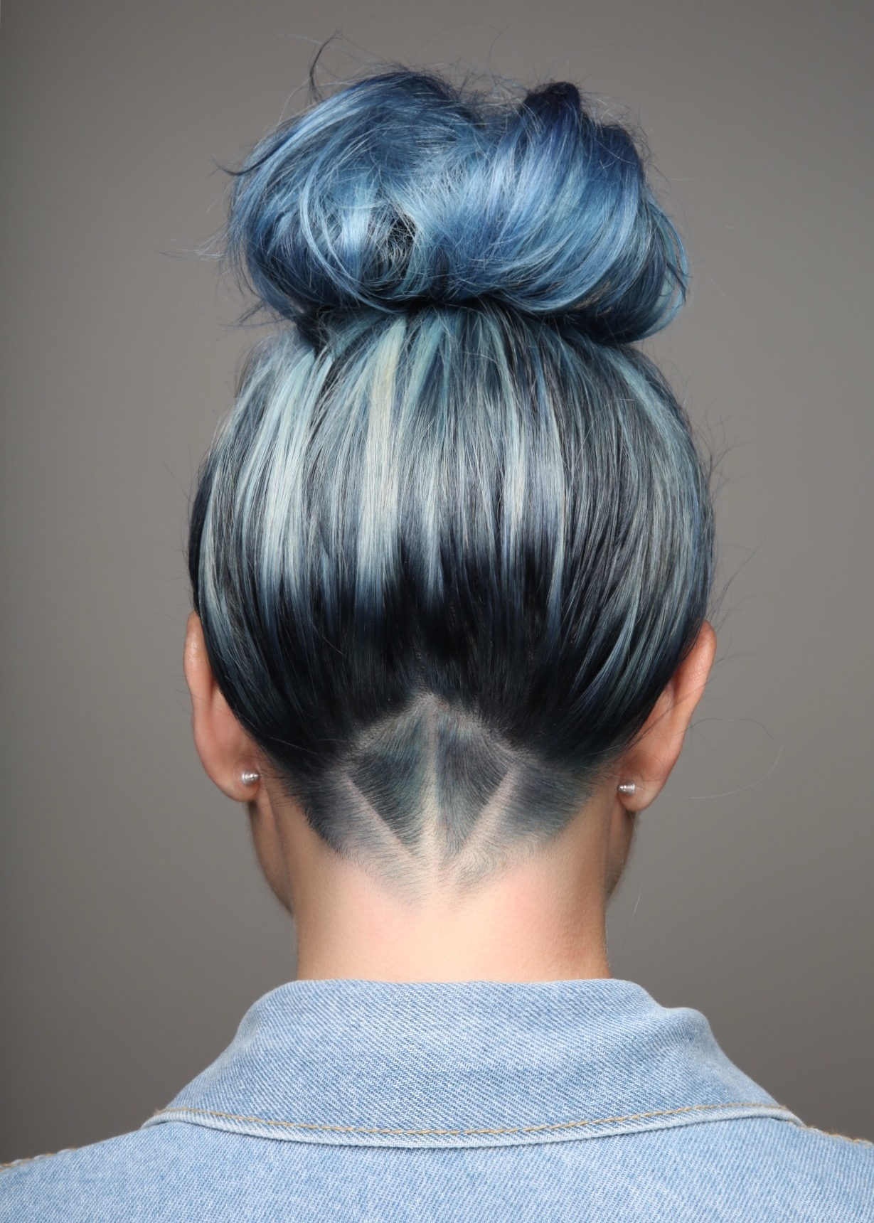 Detailed Undercut with Blue Hair