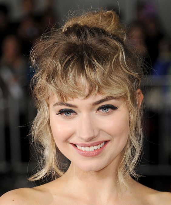curly hair bangs updo curly fringe curly hair ideas
