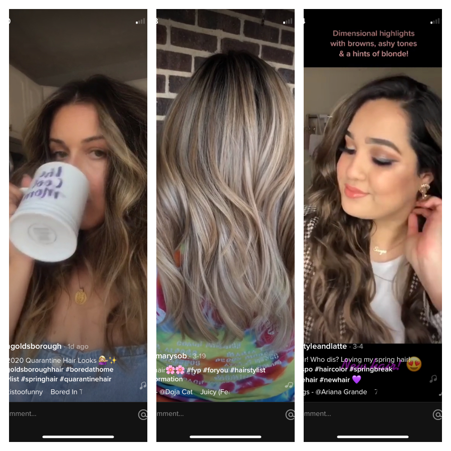 Screen shots from Tik Tok of girls showing off their loose curls for spring hairstyle trends