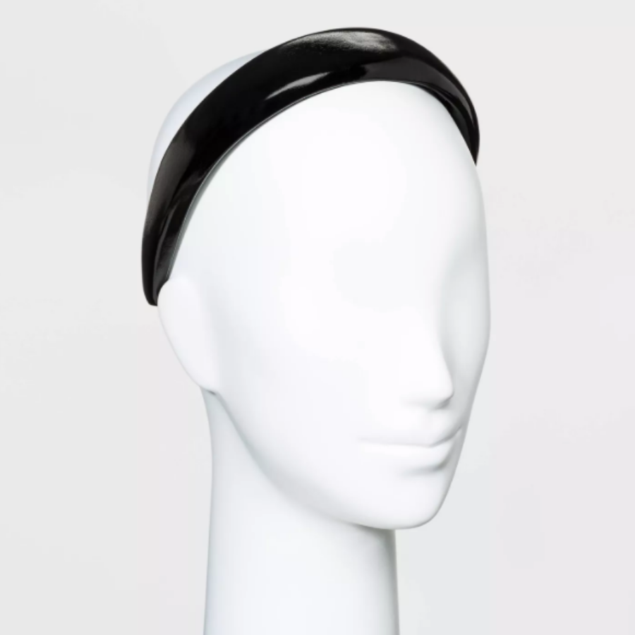 Puffy Plastic Headband with Solid Faux Leather Cover in black from Target