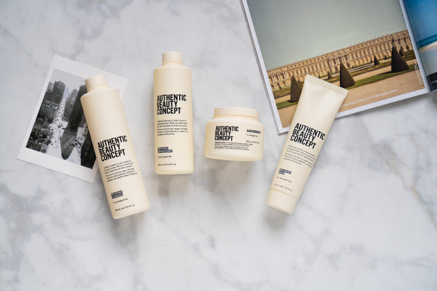 Replenish collection from Authentic Beauty Concept on a marble countertop