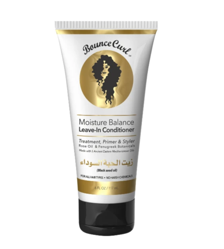 Bounce Curl Moisture Balance Leave-In Conditioner treats, primes and styles hair