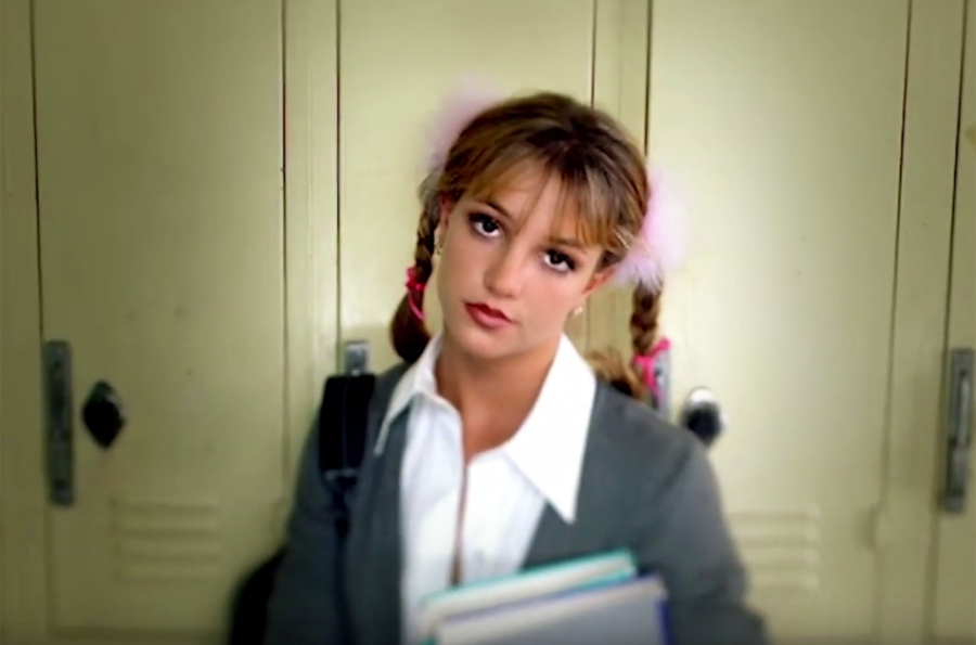 """Britney Spears performing in her """"Baby One More Time"""" music video"""