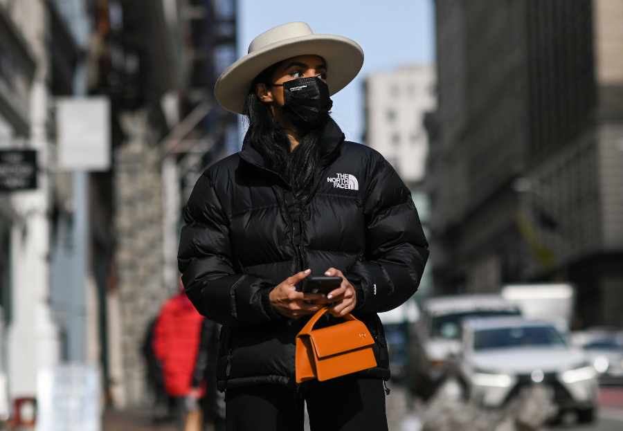Street Style - February 2021 - New York Fashion Week: The Shows NEW YORK, NEW YORK - FEBRUARY 17: Lali is seen wearing a North Face coat, Lack of Color hat, Tory Burch pants with a purse during New York Fashion Week F/W21 on February 17, 2021 in New York City. (Photo by Daniel Zuchnik/Getty Images)